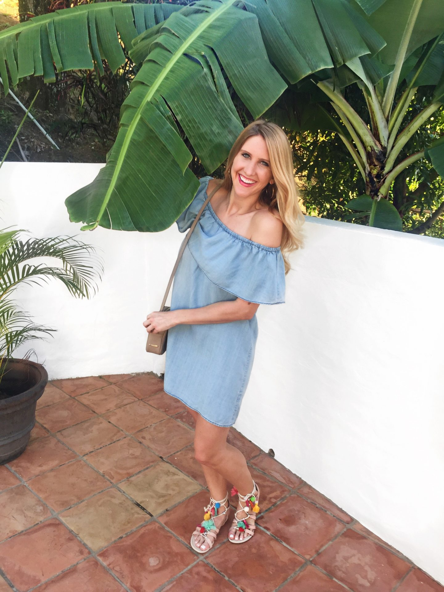 Chambray Dress and Pom Pom Sandals